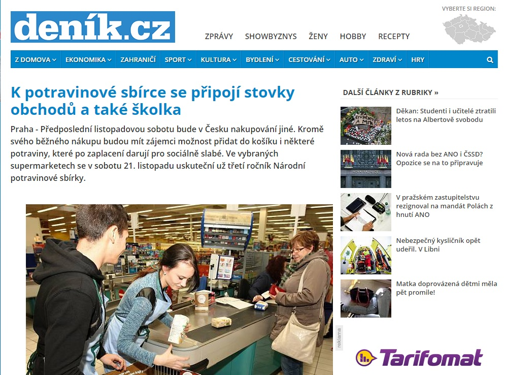 Deník: K potravinové sbírce se připojí stovky obchodů a také školka