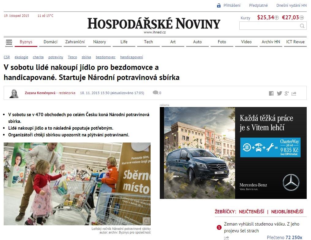 iHned.cz: V sobotu lidé nakoupí jídlo pro bezdomovce a handicapované. Startuje Národní potravinová sbírka