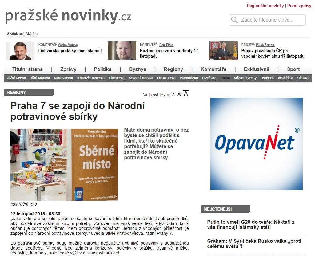 Pražskénovinky.cz: Praha 7 se zapojí do Národní potravinové sbírky